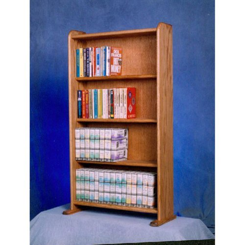 The Wood Shed Solid Oak 4 Row Media Cabinet \/ Bookcase
