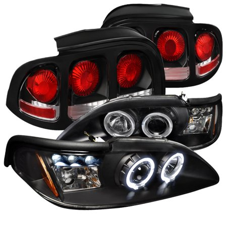 Spec-D Tuning For 1994-1998 Ford Mustang Halo Black Projector Led Headlights + Rear Tail Lights Brake Lamps (Left+Right) 1994 1995 1996 1997 1998