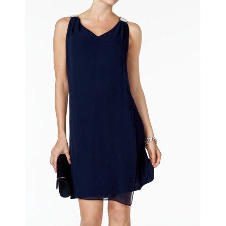 Matte Jersey Sheath Dress (MSK NEW Blue Womens Size XL V-Neck Chiffon Drape Jersey Sheath Dress)