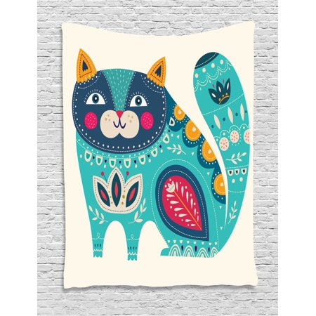 Animal Decor Tapestry, Cute Chubby Smiling Cat with Colorful Paisley Ethnic Indian Style Figures Artwork, Wall Hanging for Bedroom Living Room Dorm Decor, 40W X 60L Inches, Colored, by Ambesonne - Cute Chubby Teen