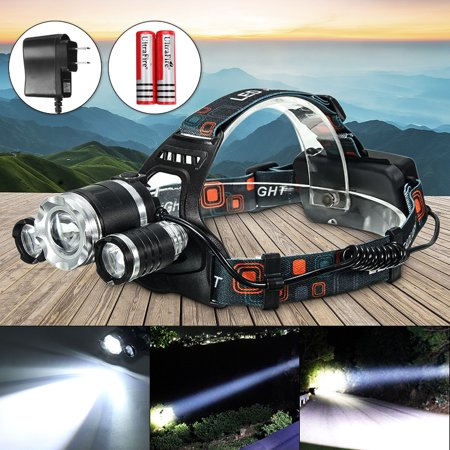 CAMTOA 5000 Lumens 3x T6 LED Rechargeable Headlamp Headlight Flashlight Torch Waterproof with US Charging Plug For Hiking Camping Riding