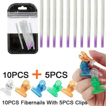 10pcs Fiberglass Nails Extension Form & 5pcs Nail Pinching Clips Nail Extension Kit Fibernails Building UV Gel Acrylic Nails Tips Tool for Nail Art (Gel Coated Fiberglass)