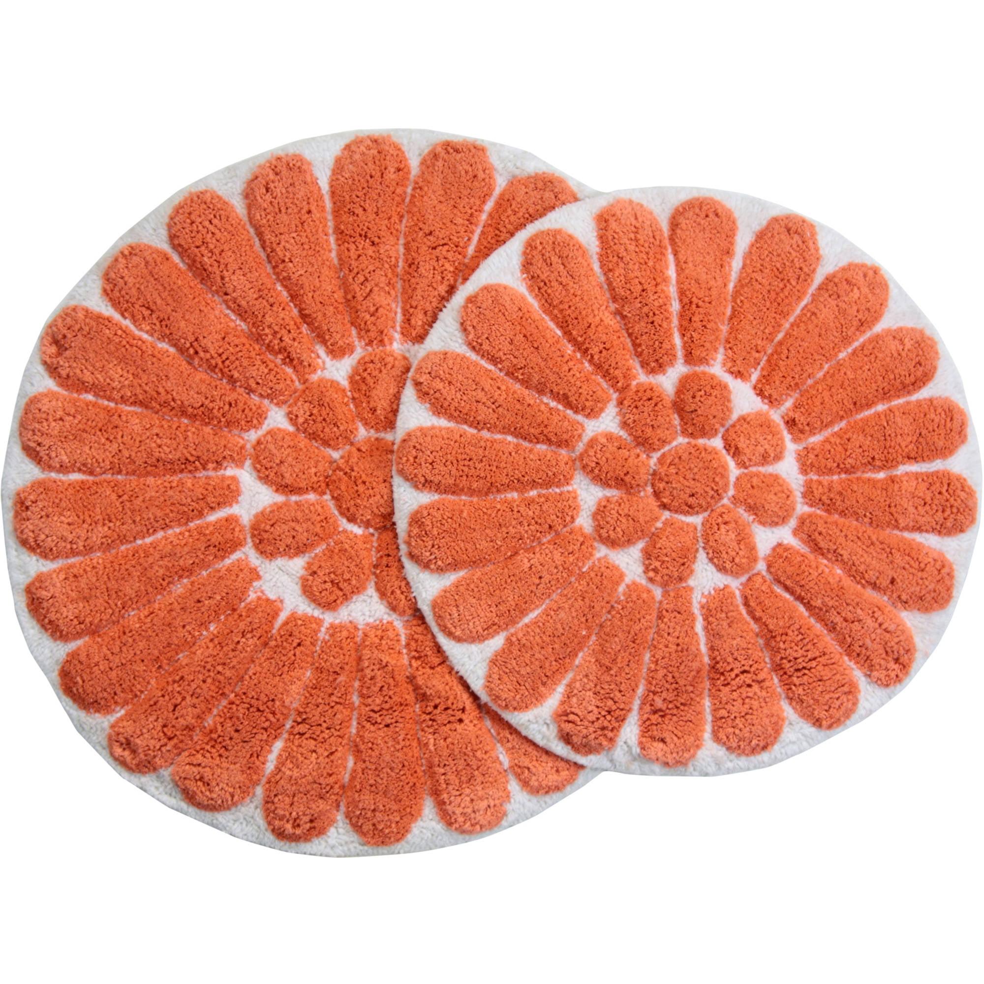 """bursting flower 2 piece bath rug set 24"""" and 30"""" round white/coral"""