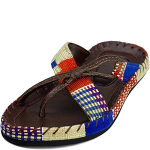 Kwame Baah Womens Esi Adafo Woven Sandals   Blue   White   Red