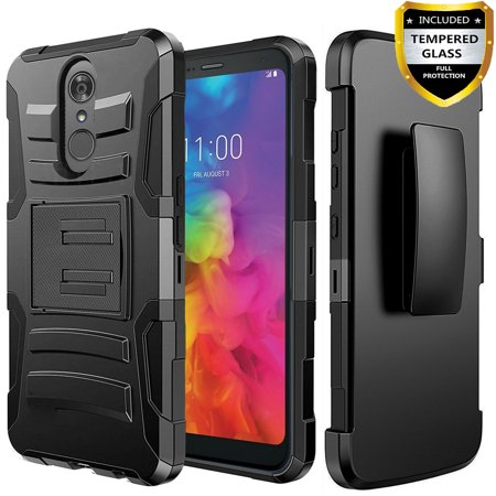 huge discount c4fac abbd9 LG Q7 Case, LG Q7 Plus, [Combo Holster] Case And Built-In Kickstand  with[Glass Protector]And Stylus(Black)