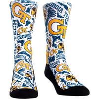 GA Tech Yellow Jackets Rock Em Socks Youth Logo Sketch Crew Socks - No Size