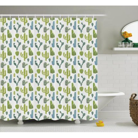 Cactus Shower Curtain Succulent Flowers With Thorns Exotic Desert Plants Colorful Hand Drawn Cacti Pattern