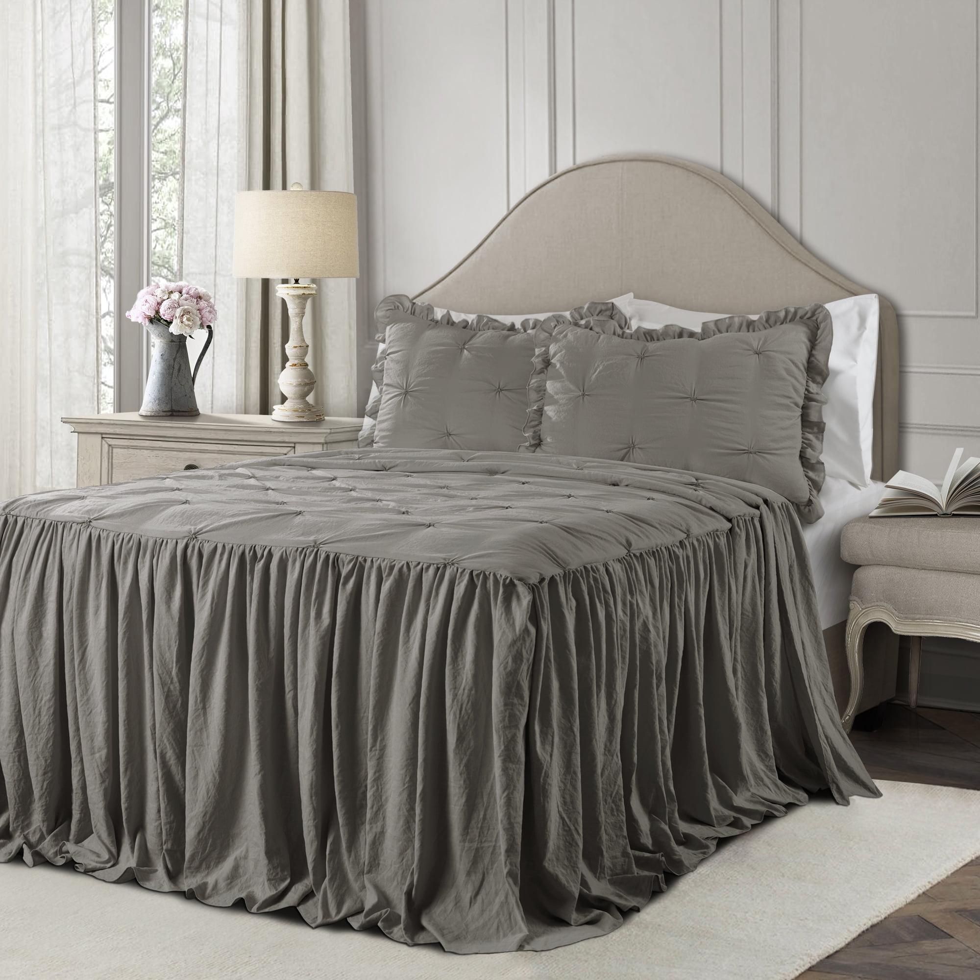 Lush Decor Ravello Pintuck Polyester Bedspread, King, Dark Gray, 3-Pc Set