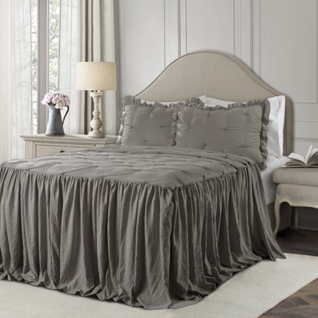 Lush Decor Ravello Pintuck Polyester Bedspread, King, Dark Gray, 3-Pc Set