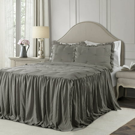 King 3pc Ravello Pintuck Ruffle Skirt Bedspread & Sham Set Dark Gray - Lush Décor