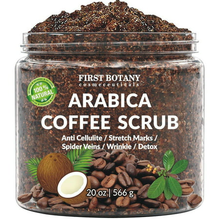 100% Natural Arabica Coffee Scrub with Organic Coffee, Coconut and Shea Butter - Best Acne, Anti Cellulite and Stretch Mark treatment, Spider Vein Therapy for Varicose Veins & Eczema (20