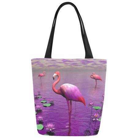 ASHLEIGH Flamingo with Water Lilies Canvas Tote Bag Shoulder Handbag for Women Girls