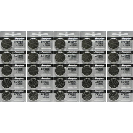 25 Energizer 2032 Battery CR2032 Lithium 3v (5 Packs of 5) 2032 Lithium Cell Button