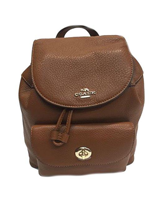 b980de163a ... france coach mini turnlock billie pebbled brown ruby leather backpack  bag 1d2de b1358
