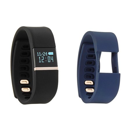 Activity Tracker Wrist Watch Rose Gold case, Black and Navy Silicone Rubber Straps