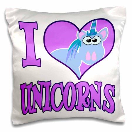 Unicorn Pillow (3dRose I Heart Love Unicorns Cartoon, Pillow Case, 16 by)