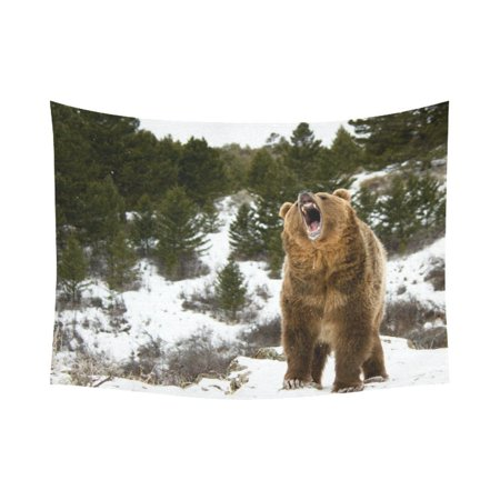 GCKG Roaring Grizzly Brown Bear Tapestry Horizontal Wall Hanging Wild Animal Winter Hill Wall Decor Art for Living Room Bedroom Dorm Cotton Linen Decoration 80 x 60 Inches ()
