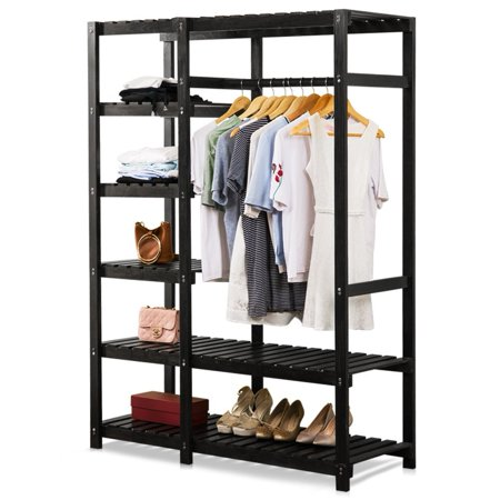tribesigns free standing closet organizer portable clothes closet with 6 tire shelves and. Black Bedroom Furniture Sets. Home Design Ideas