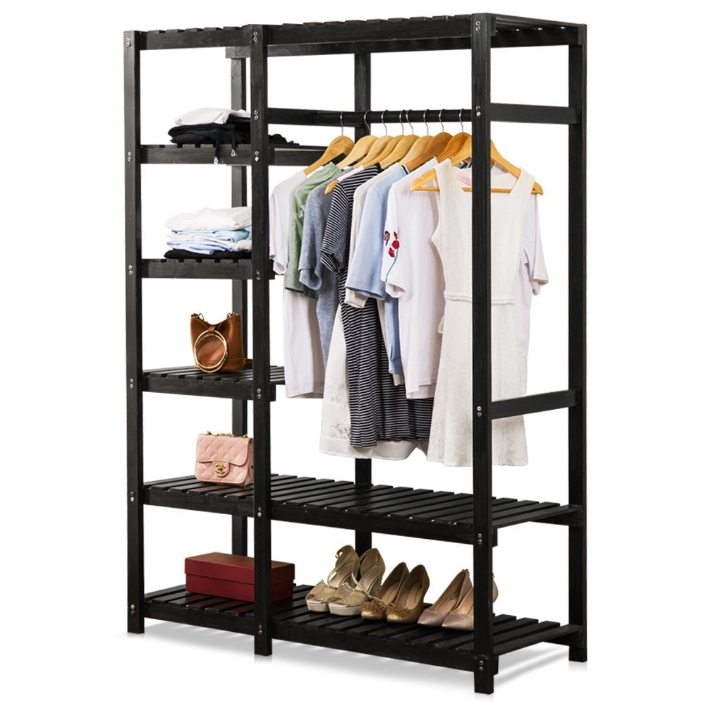 Tribesigns Free Standing Closet Organizer, Portable Clothes Closet With  6 Tire Shelves And