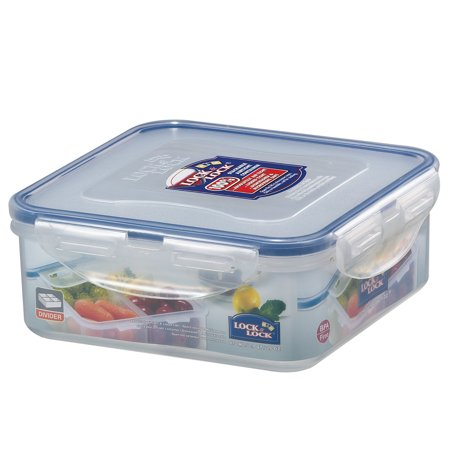 Lock & Lock Easy Essentials On the Go Meals Divided Square Food Storage Container,