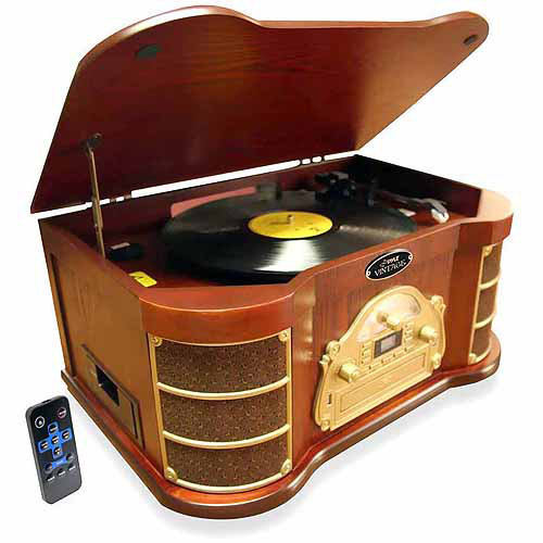 Pyle PTCD54UB Bluetooth Vintage-Style Turntable with AM FM Radio, CD and Cassette Players, USB Flash Recording... by Pyle