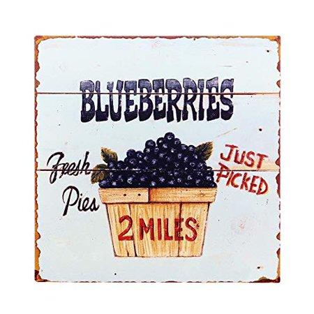 "Barnyard Designs Fresh Picked Blueberries Retro Vintage Tin Bar Sign Country Home Decor 11"" x 11"""