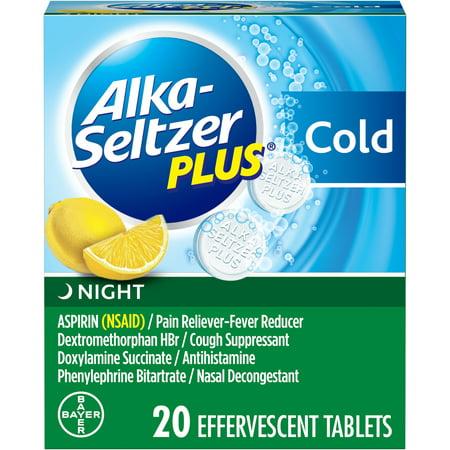 Alka-Seltzer Plus Night Cold Medicine, Lemon Effervescent Tablets with Pain Reliever/Fever Reducer, Cough Suppressant, Antihistamine, Nasal Decongestant, 20 (The Best Decongestant Medicine)