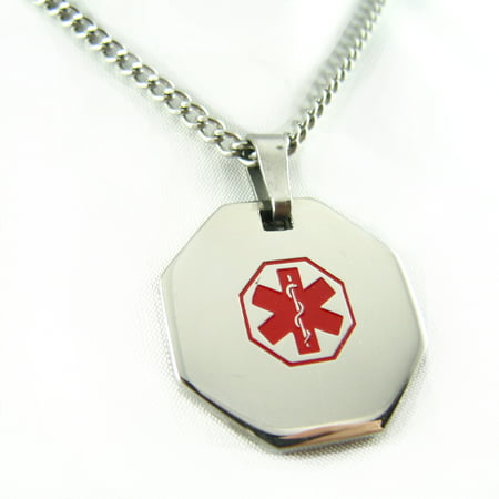 MyIDDr - Pre-Engraved Pacemaker Stainless Steel Medical Alert ID Necklace, Free ID Card Incd - USA Seller