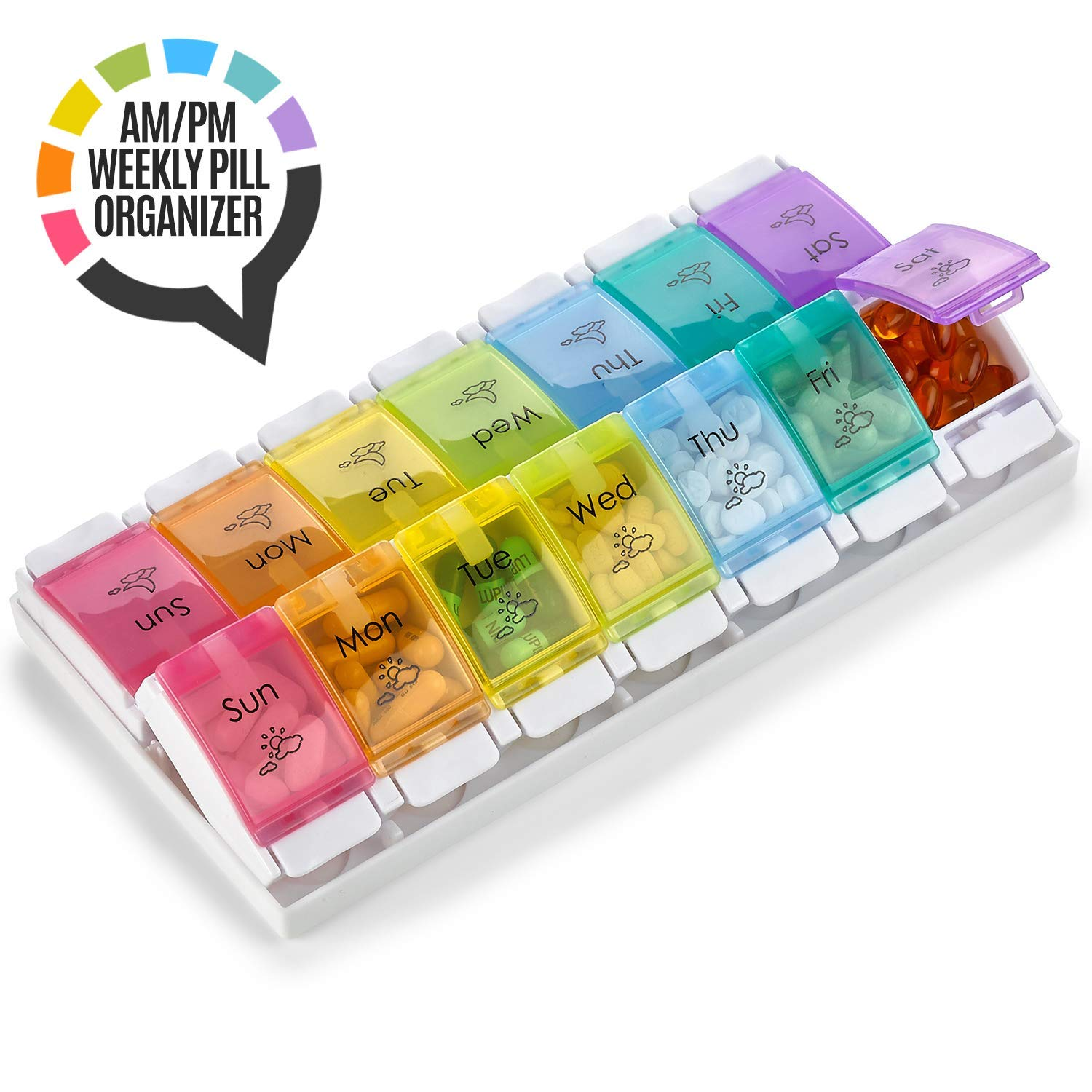 7 Day AM PM Pill Organizer - with Push Button Assisted Open a Daily Travel Pill Box Case Planner and Large Compartments for Medication Vitamins Fish Oil & Supplements, BPA Free