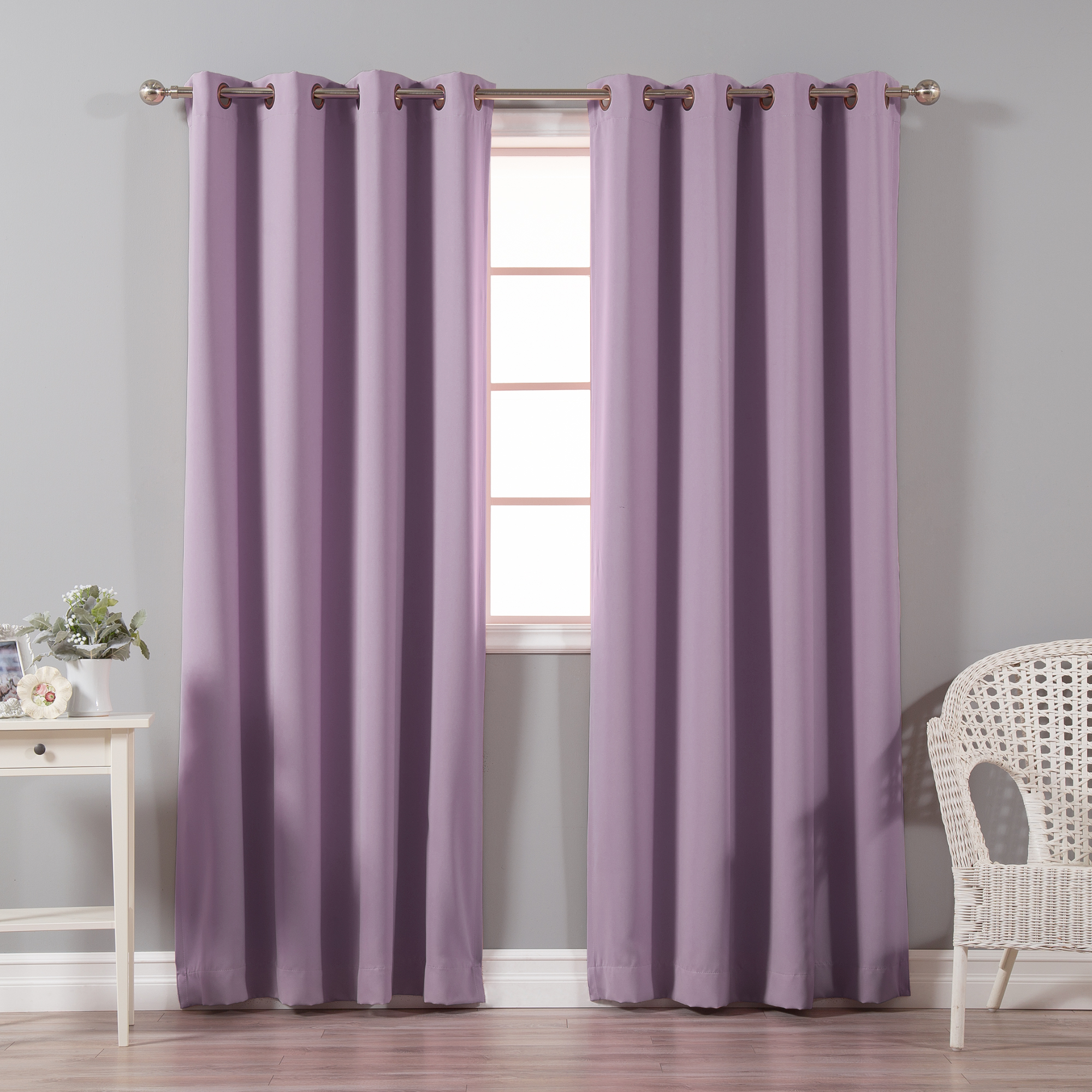 Quality Home Basic Thermal Blackout Curtains - Antique Bronze Grommet Top - Brick (Set of 2 Panels)
