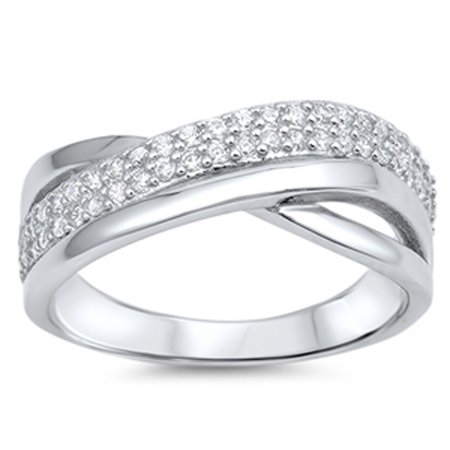 Channel Set Weave Clear CZ Unique Ring New .925 Sterling Silver Band Size 8 - New Channel Set