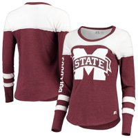 Women's Russell Athletic Heathered Maroon Mississippi State Bulldogs Yoke Tunic Long Sleeve T-Shirt