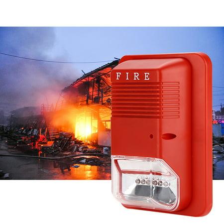 Strobe Fire Alarm Wire (WALFRONT Fire Alarm Warning Strobe Light Fire Alarm, Sound & Light Fire Alarm Warning Strobe Horn Alert Safety System Sensor for Home Office Hotel Restaurant,fire Alarm Light with Light Sound Warning)
