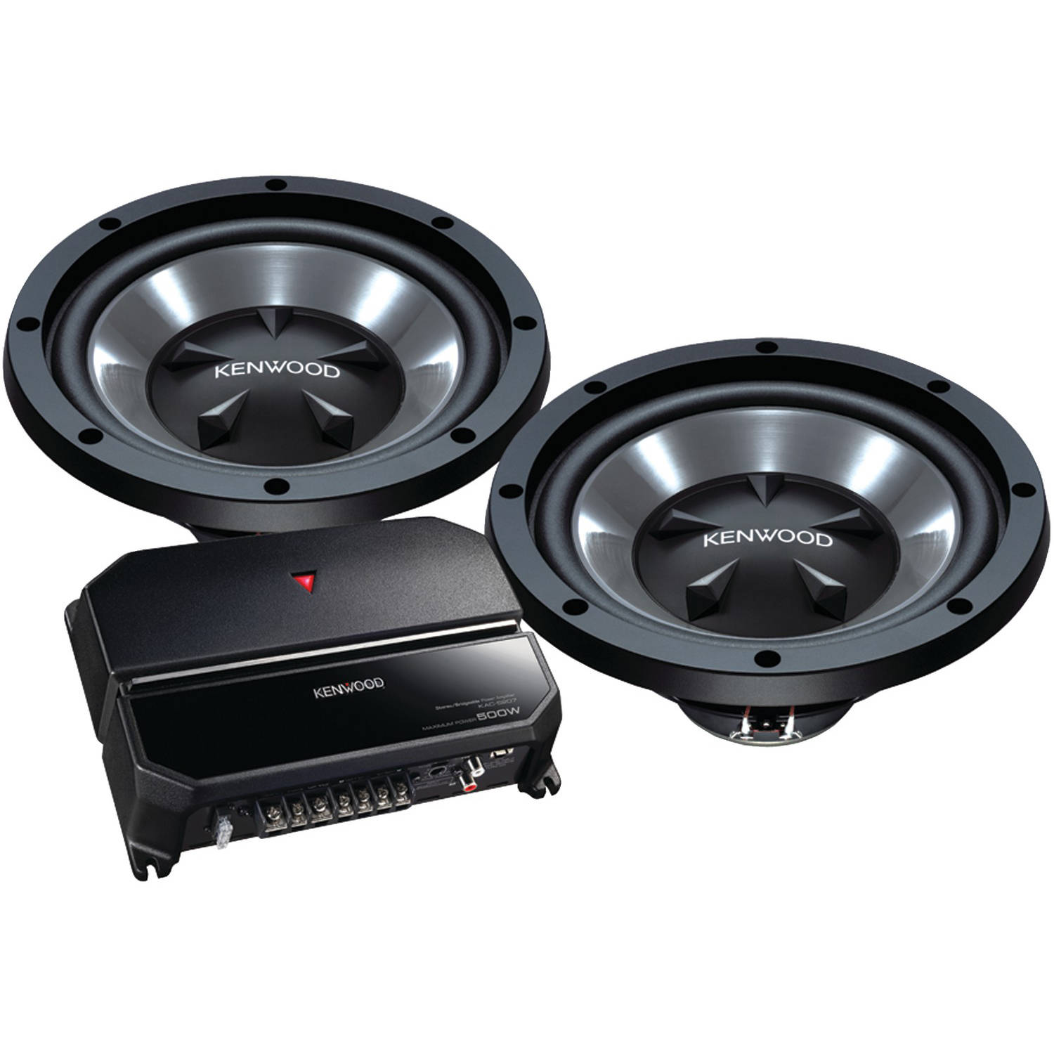 "Kenwood P-W1221 12"" Bass Party Pack (KAC-5207 2-Channel Amp and 2 KFC-W112S Subwoofers)"