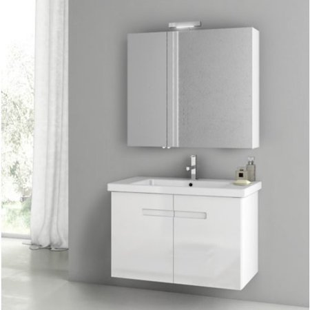 ACF by Nameeks ACF NY06-GW New York 32-in. Single Bathroom Vanity Set - Glossy White