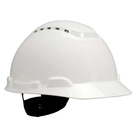 3M Hard Hat H-701V, Vented White 4-Point Ratchet Suspension, - Hard Hat Helmet