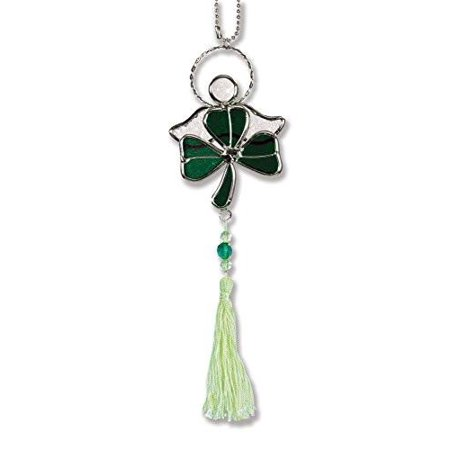 Shamrock Suncatcher - Green Stained Glass Shamrock with Irish Angel