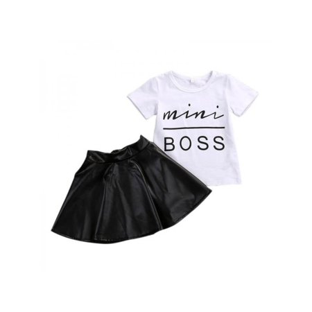 Topumt Baby Girls Summer Clothes Set T Shirt Top + PU Leather Skirt Dress Party (Party Leather)