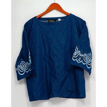 Bob Mackie Top Sz S Drop Shoulder Blouse w/ Embroidered Sleeves Blue A303007 Bob Mackie Embroidered Blouse