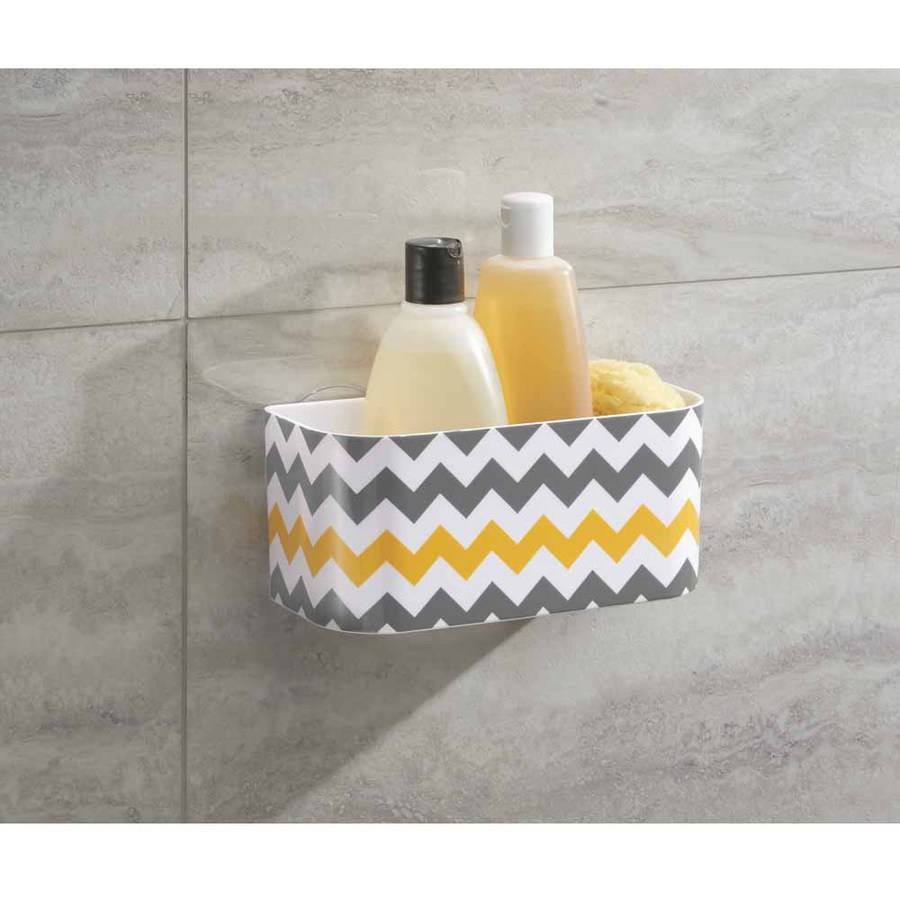 InterDesign Una Bathroom Suction Shower Basket for Shampoo, Conditioner, Soap, Gray/Yellow Chevron