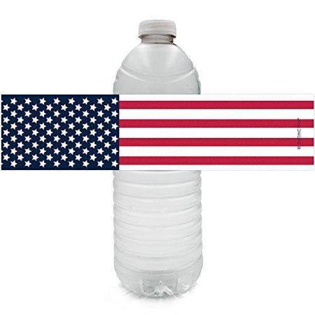 Patriotic Party Water Bottle Labels, 24ct - Memorial Day Decorations American Flag 4th of July Party Supplies - 24 Count Sticker Labels