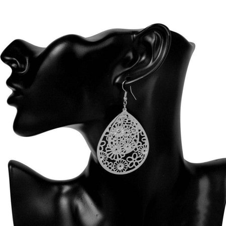 ON SALE - Dangling Floral Drop Earrings in Gold or Silver Silver ()