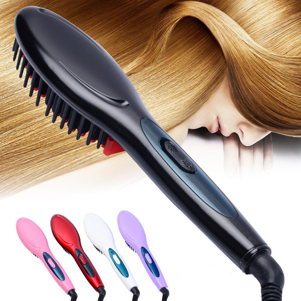 Jeobest Hair Straightening Brush - Electric Hair Straightening Comb - Electric Hair Brush Irons Hair Straightener Comb Brush Fast Straight Hair Comb brush Massage Straightening Iron Black MZ