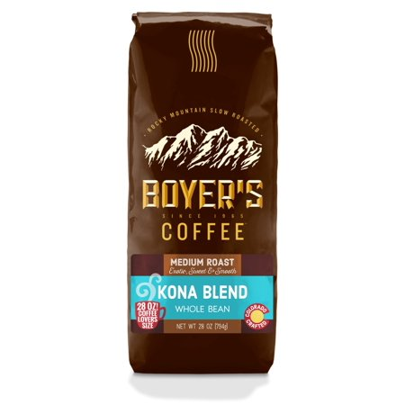 Boyers Kona Blend Whole Bean Coffee, 28oz Bag (Kona Unit)