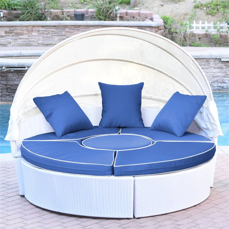 Jeco All-Weather Wicker Sectional Outdoor Daybed with Canopy