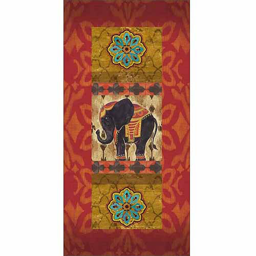 Burlap Ikat Pattern Moroccan Elephant Tile Panels Yellow & Red Canvas Art by Pied Piper Creative