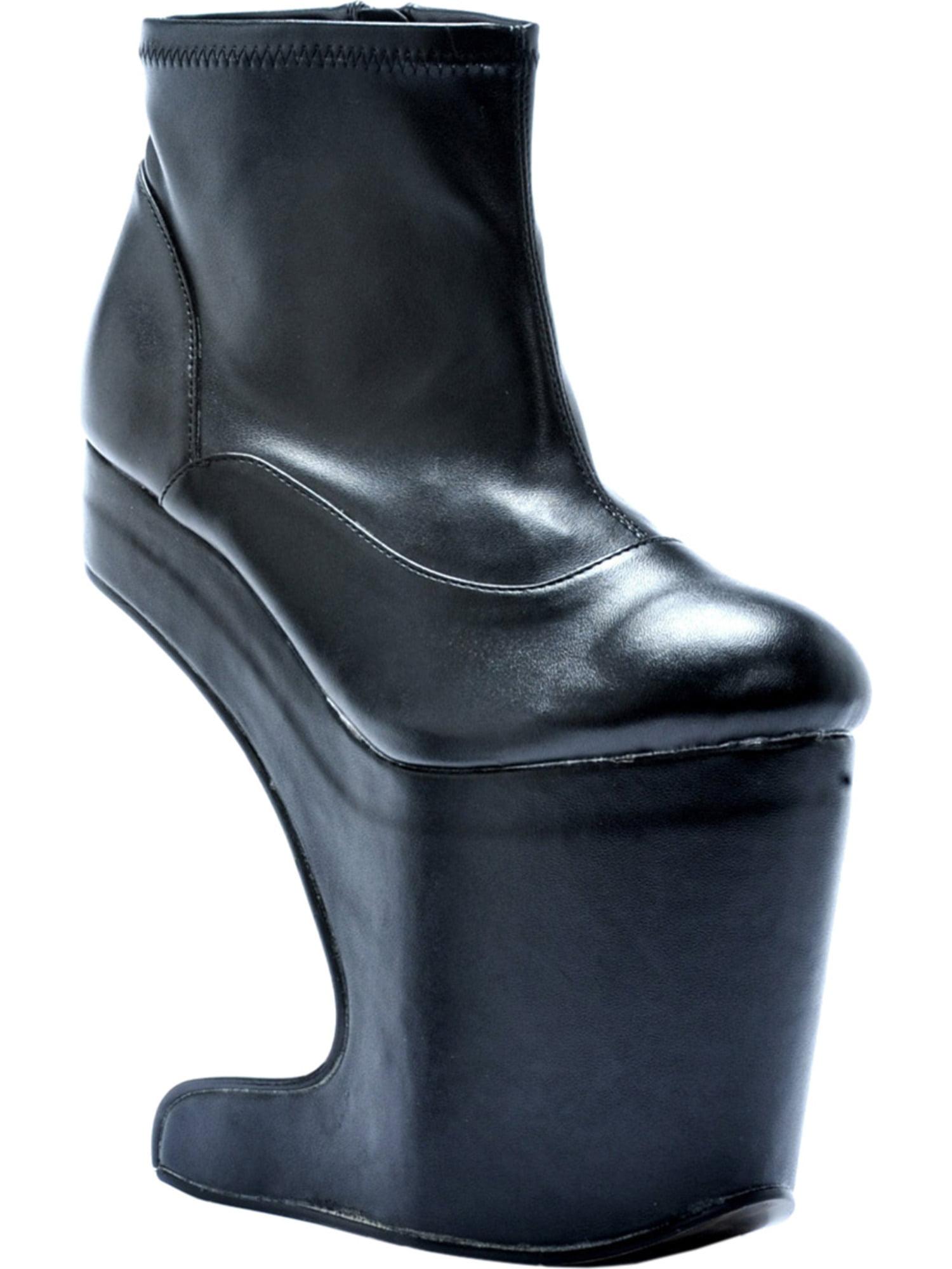 Matte Black Ankle Boots Women's Heel