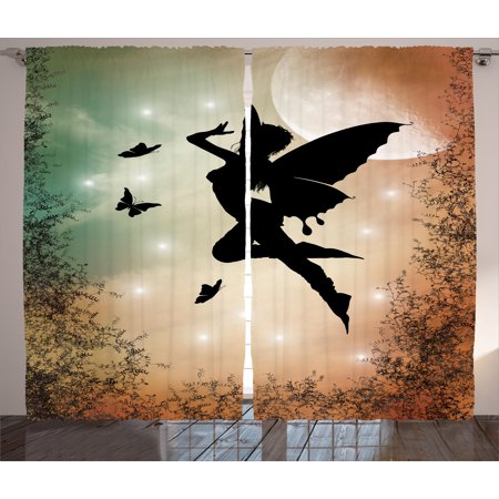 Nature Curtains 2 Panels Set, Black Fairy with Angel Wings Butterflies and Sun like Alluring Round Artwork Print, Window Drapes for Living Room Bedroom, 108W X 96L Inches, Multicolor, by Ambesonne - Butterfly With Angel Wings