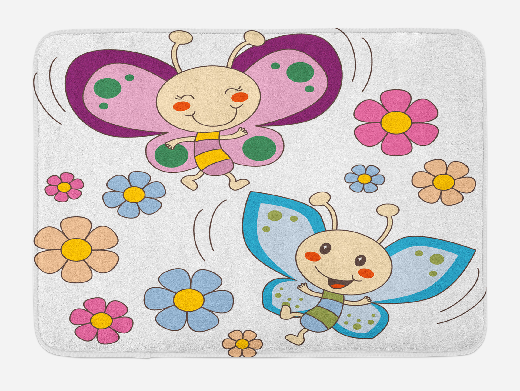Nursery Bath Mat, Lilac and Blue Baby Kid Butterflies Flying Between Spring Flowers... by 3decor llc