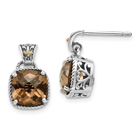 Roy Rose Jewelry Shey Couture Collection Sterling Silver with 14K Yellow Gold Smoky Quartz Earrings